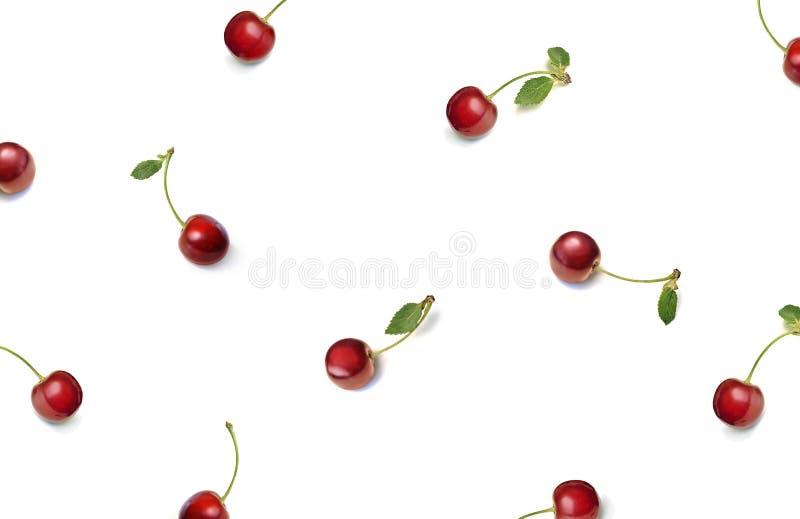 Cereza Bayas rojas de la cereza dulce aisladas en el fondo blanco Endecha plana, visión superior ilustración del vector