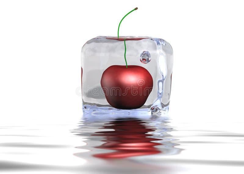 Cereza Icecube en el agua stock de ilustración