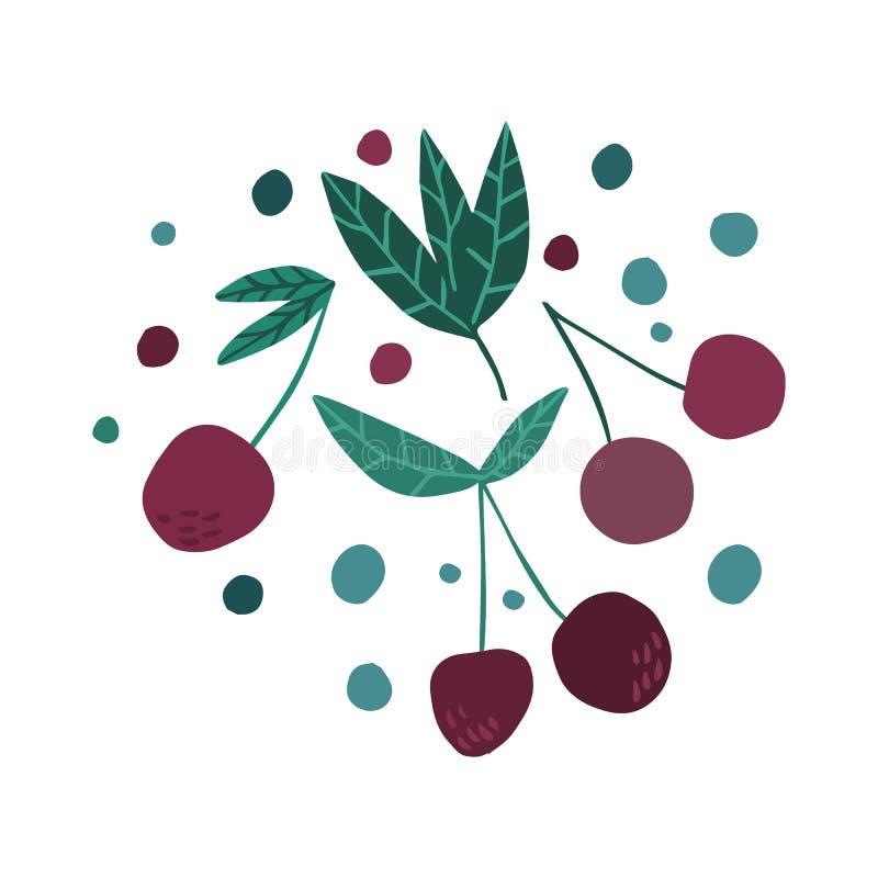 Cerezas dulces del drenaje de la mano Cereza rosada aislada del color ilustración del vector