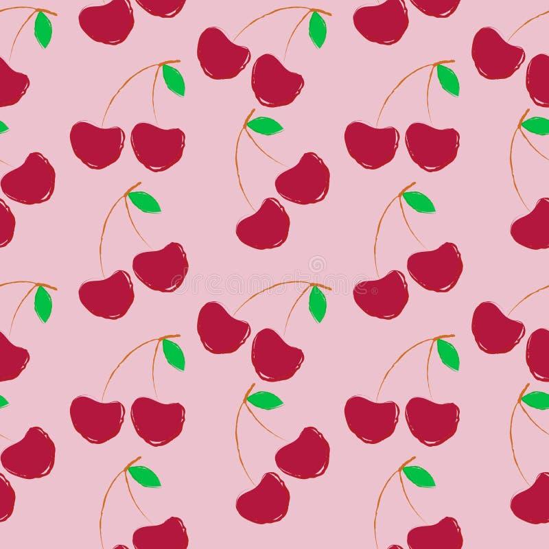 Cerezas en fondo rosado libre illustration