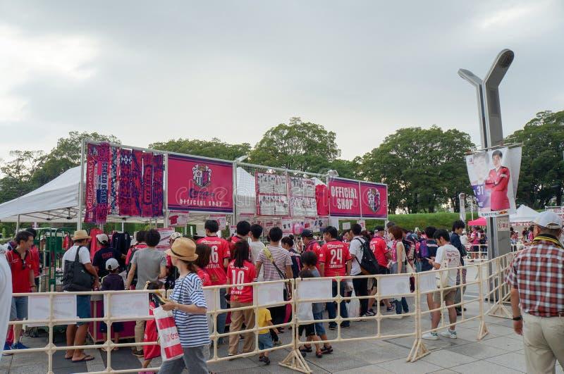 Cerezo Osaka Soccer team fans buying souvenirs at Yanmar Stadium Nagai, Osaka Japan. August 5, 2017 royalty free stock photography