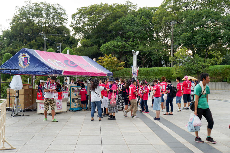 Cerezo Osaka Soccer team fans buying souvenirs at Yanmar Stadium Nagai, Osaka Japan. August 5, 2017 royalty free stock photo