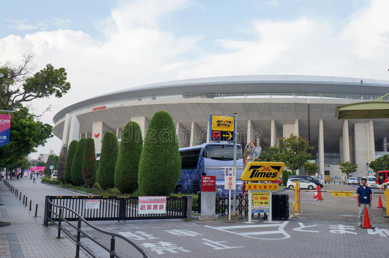 Cerezo Osaka Soccer team fans going to the game at Yanmar Stadium Nagai, Osaka Japan royalty free stock photography