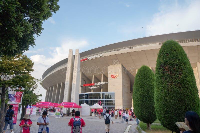 Cerezo Osaka Soccer team fans at Yanmar Stadium Nagai, Osaka Japan. August 5, 2017 royalty free stock photos
