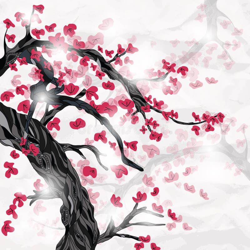 Cerezo y flores con el espacio para el texto ilustración del vector