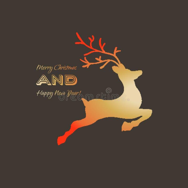 Cerf commun sautant ou fonctionnant à cornes Dirigez le calibre de logo conception pour votre Joyeux salutation de Noël et de bon illustration de vecteur