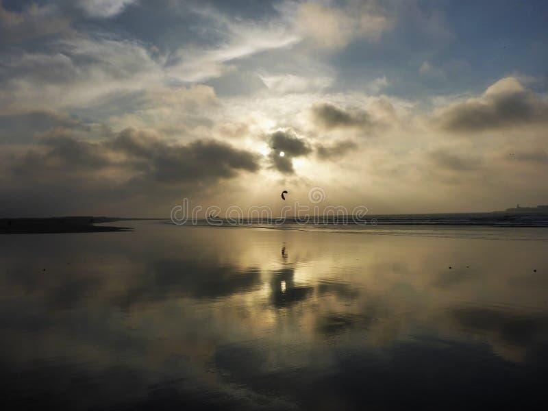 Cerf--surfer appréciant le coucher du soleil dans Essaouira photos stock