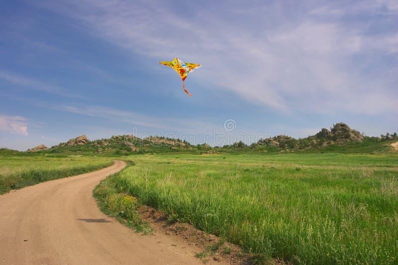 Cerf-volant dans le ciel nuageux d'été photo stock