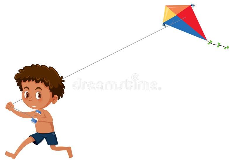 Cerf-volant de jeu de garçon sur le fond blanc illustration de vecteur