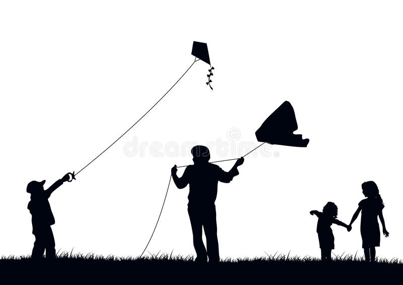 Cerf-volant de vol de famille illustration stock