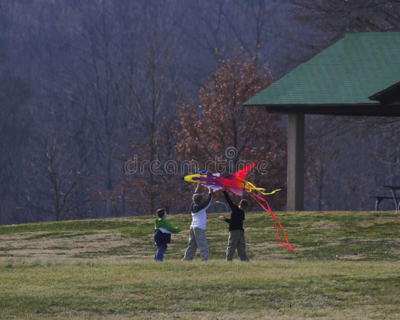 Cerf-volant et famille photos libres de droits