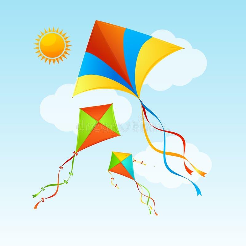 Cerf-volant et nuages de vol sur un fond de concept d'été de ciel bleu Vecteur illustration libre de droits