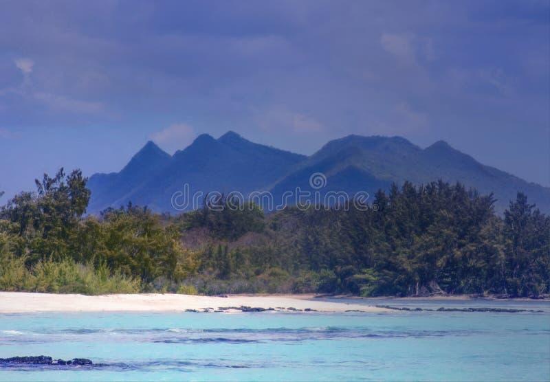 Cerfs aux. Îles Maurice d'Ile avec la vue de la plage sablonneuse et des montagnes photos libres de droits