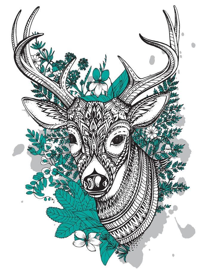 Cerfs communs à cornes de vecteur tiré par la main avec le haut ornement de détails illustration stock