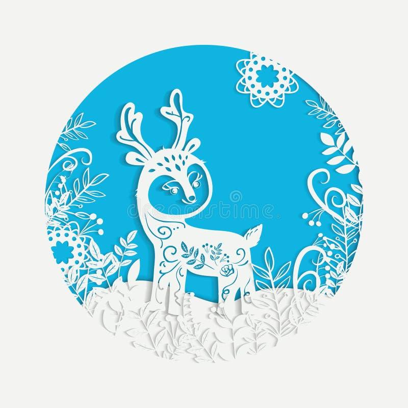 Cerfs communs à cornes magiques de Noël tiré par la main illustration de vecteur