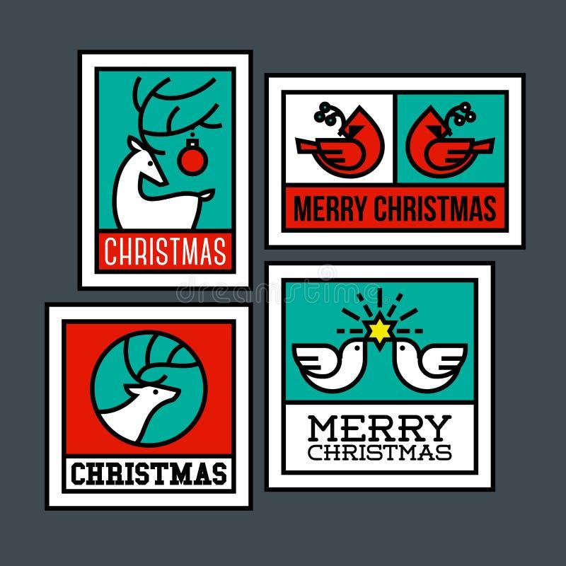 Cerfs communs, élans, oiseau cardinal et colombe de paix avec l'étoile illustration de vecteur