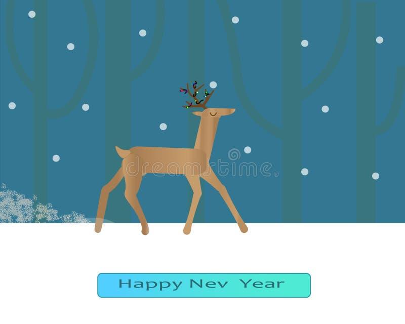 Cerfs communs affrichés dans la forêt d'hiver illustration stock