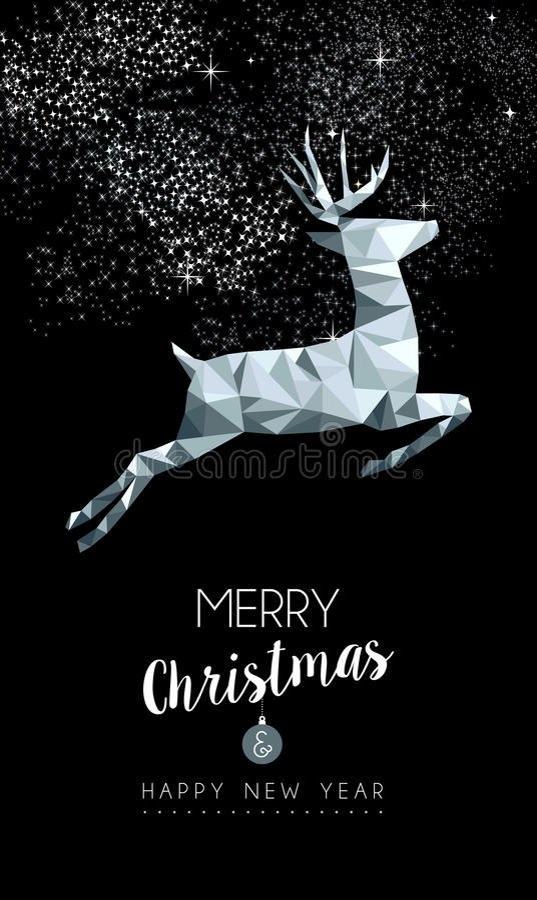 Cerfs communs argentés de Noël dans la basse poly carte de voeux illustration stock