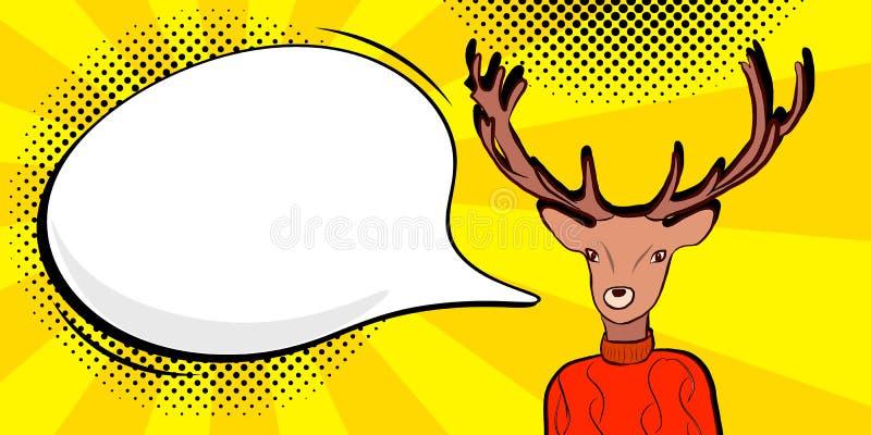 Cerfs communs avec la bulle de la parole dedans illustration de vecteur