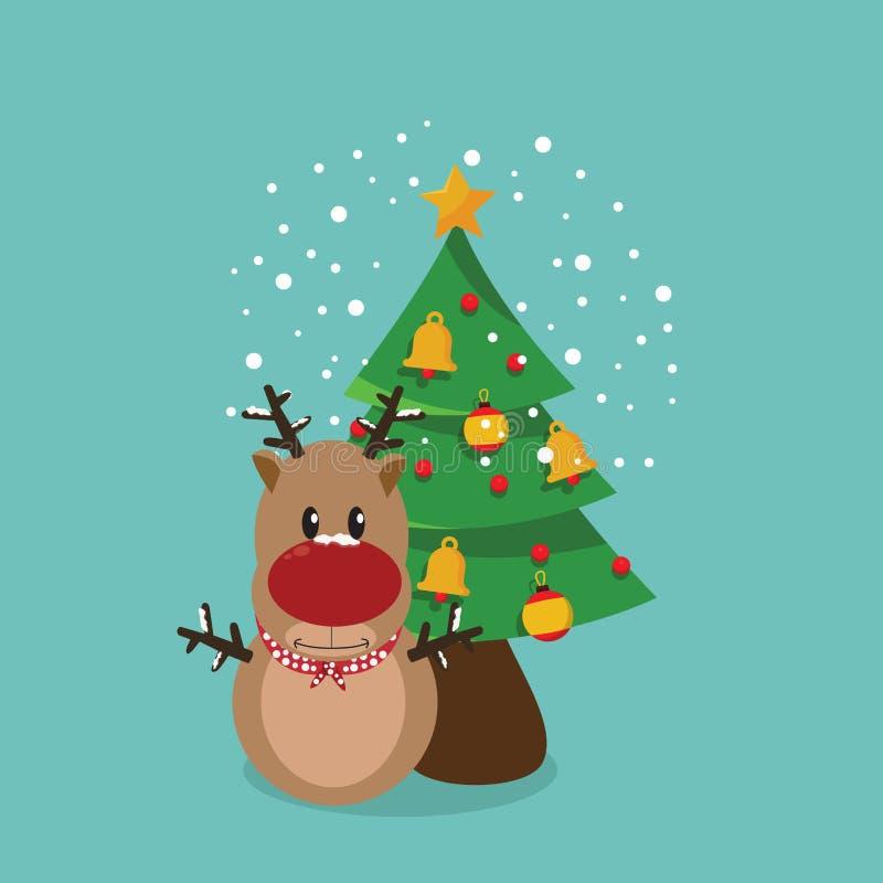 Cerfs communs avec Noël d'arbre illustration stock