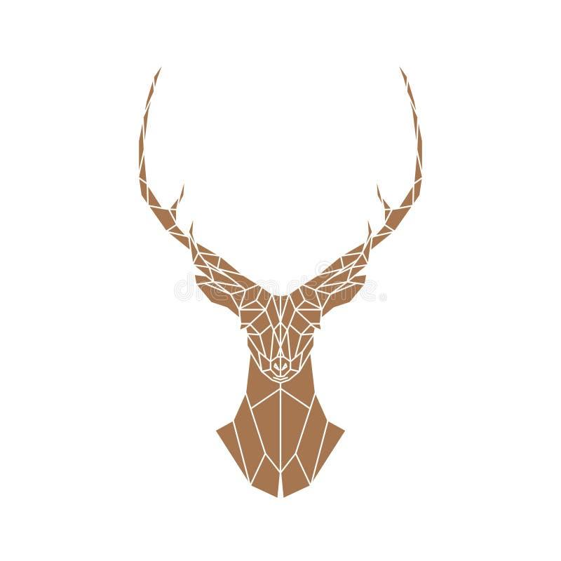 Cerfs communs bruns polygonaux avec des klaxons sur un fond blanc illustration stock