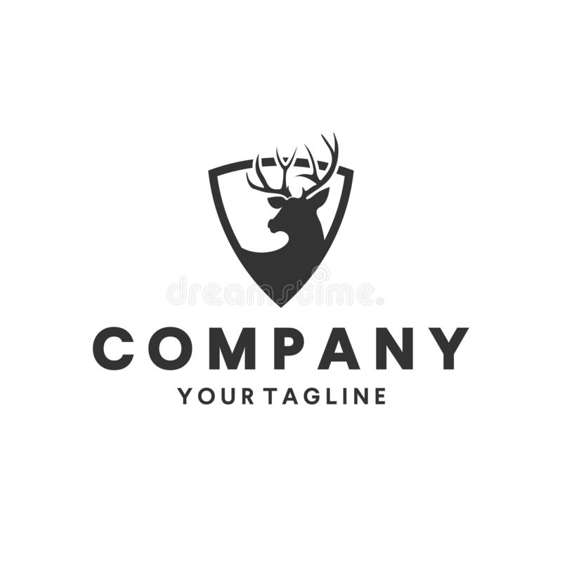 Cerfs communs chassant l'inspiration de conception de logo illustration libre de droits