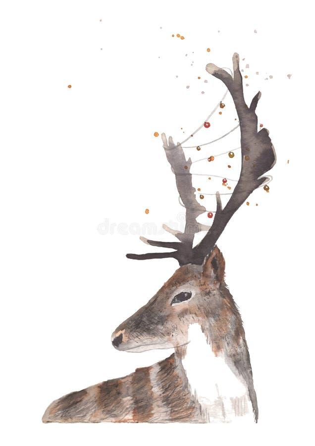 Cerfs communs d'aquarelle avec la guirlande des lumières illustration de vecteur