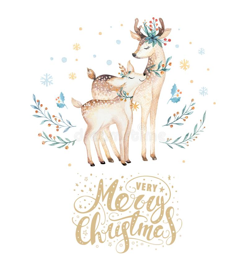 Cerfs communs d'aquarelle de Noël Illustration animale d'enfants de forêt mignonne de Noël, carte de nouvelle année ou affiche Bé illustration stock