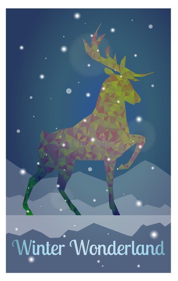 Cerfs communs dans la nuit neigeuse d'hiver illustration stock
