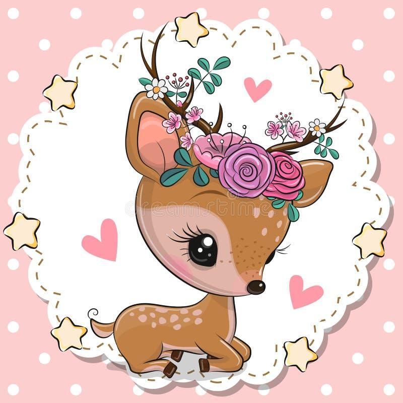 Cerfs communs de bébé avec des fleurs et coeurs sur un fond rose illustration libre de droits