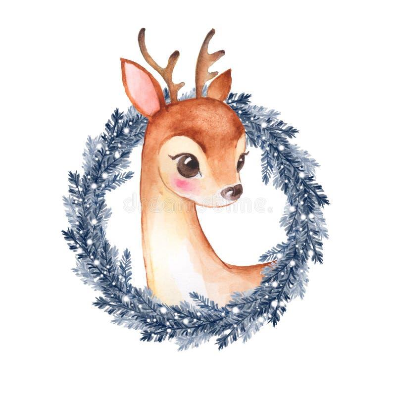 Cerfs communs de bébé Faon et guirlande mignons 2 de Noël illustration de vecteur