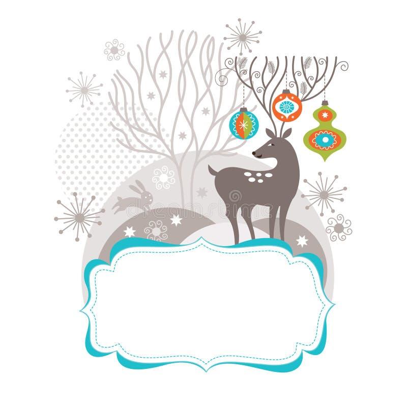 Cerfs communs de Noël, carte de voeux illustration stock