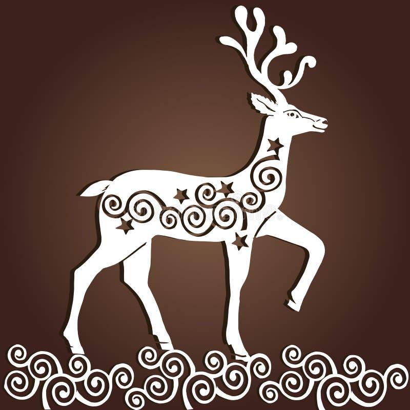Cerfs communs de Noël de papier de coupe de laser Carte de voeux de Joyeux Noël illustration de vecteur