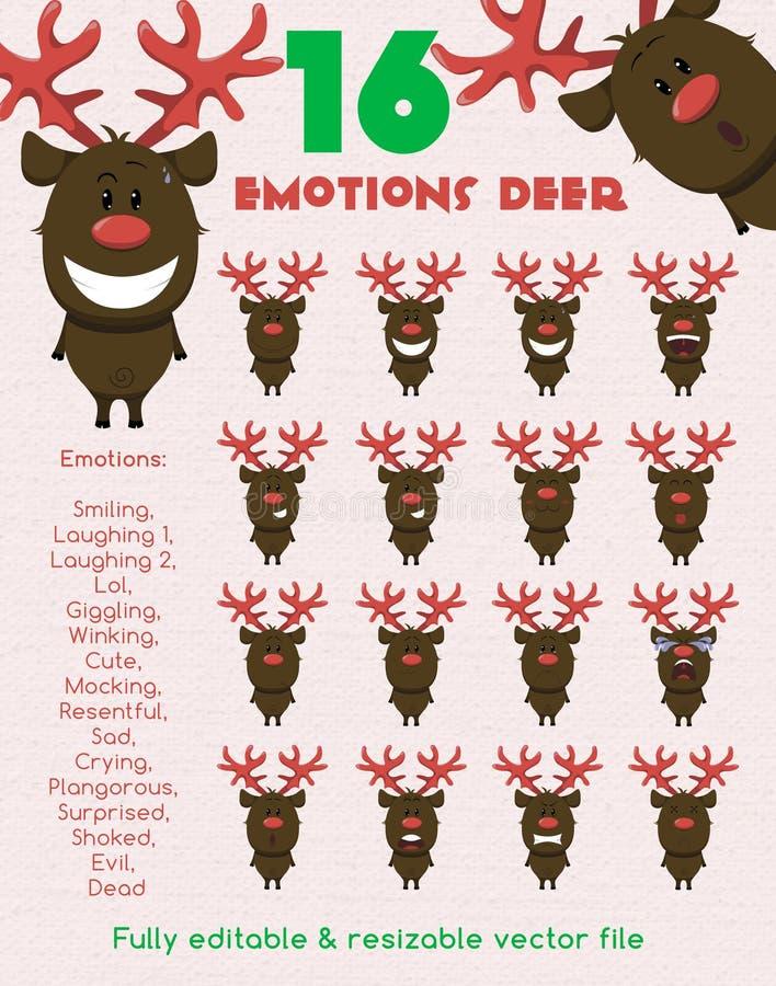 Cerfs communs drôles d'émotions illustration libre de droits