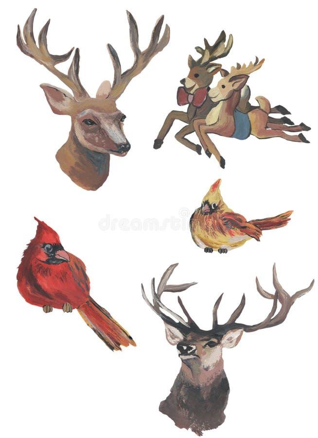 Cerfs communs et chèvres d'aquarelle peints avec la compétence Oiseaux d'aquarelle illustration libre de droits