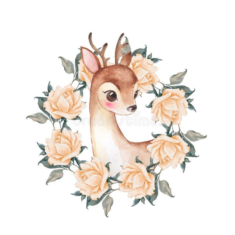 Cerfs communs et fleurs de bébé watercolor illustration libre de droits