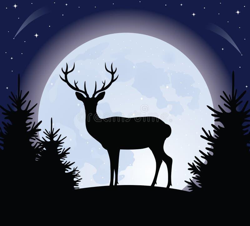 Cerfs communs et la lune. illustration libre de droits