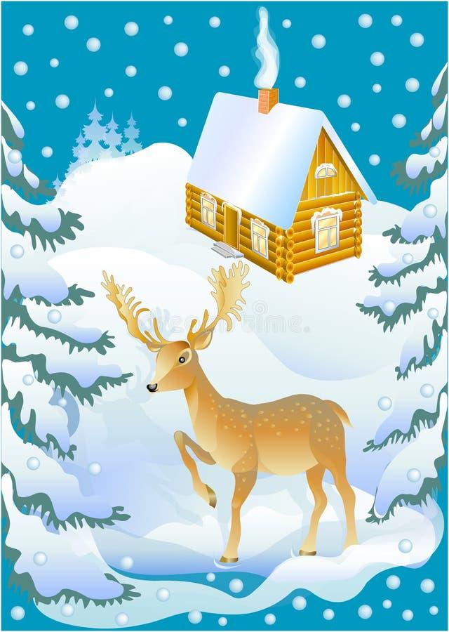 Cerfs communs et la maison de l'hiver (vecteur) illustration stock