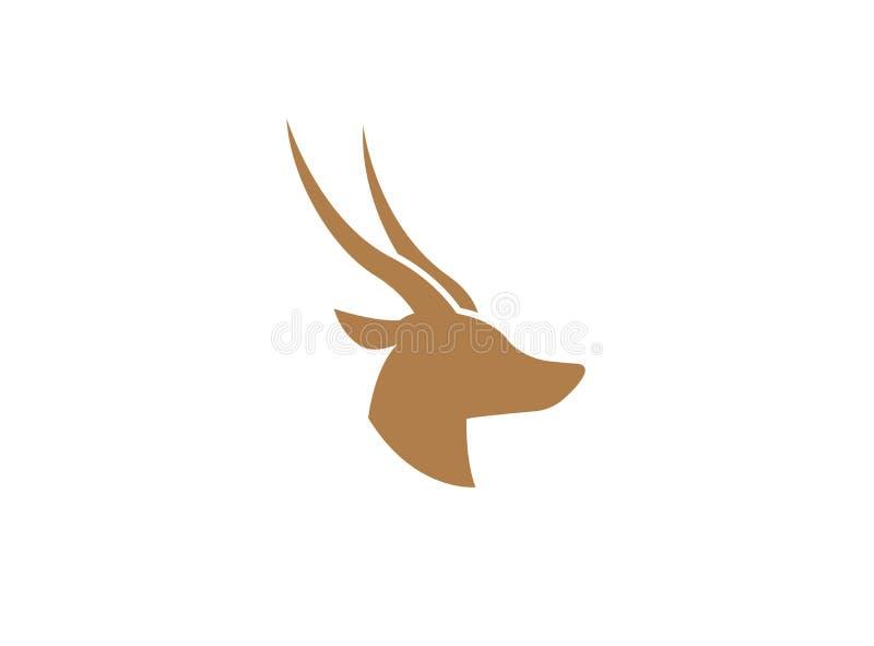 Cerfs communs et tête de derrière avec le logo de deux klaxons illustration stock