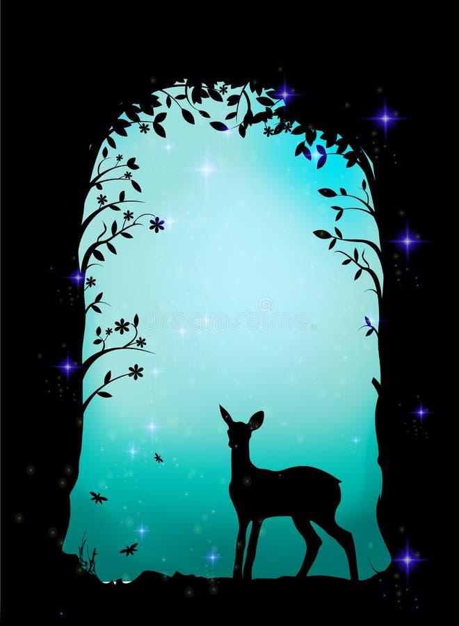 Cerfs communs, faon dans la forêt, caverne féerique, illustration libre de droits