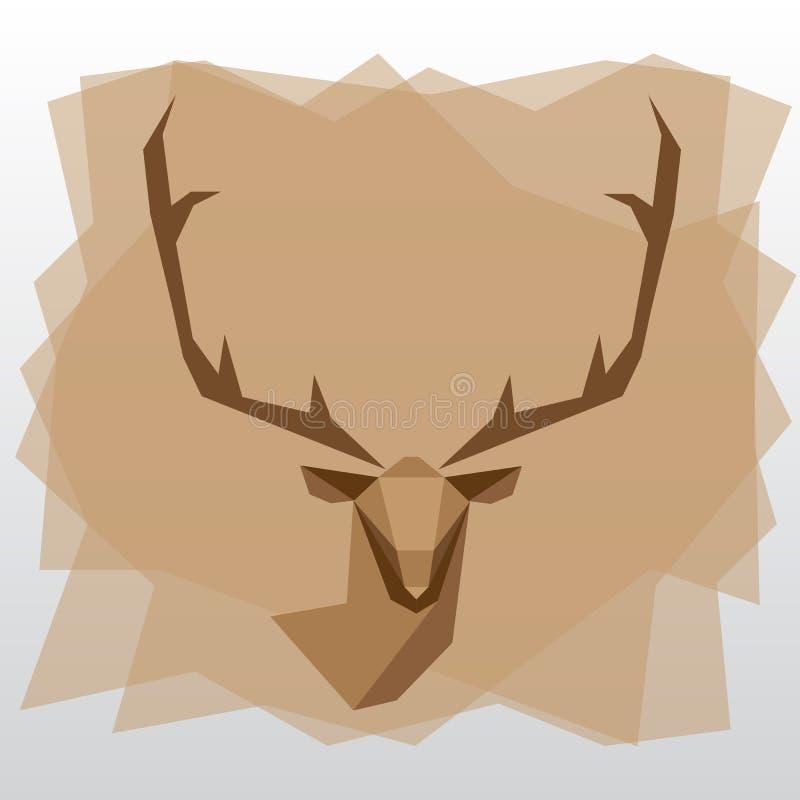 Cerfs communs géométriques de triangle sur le fond brun illustration libre de droits