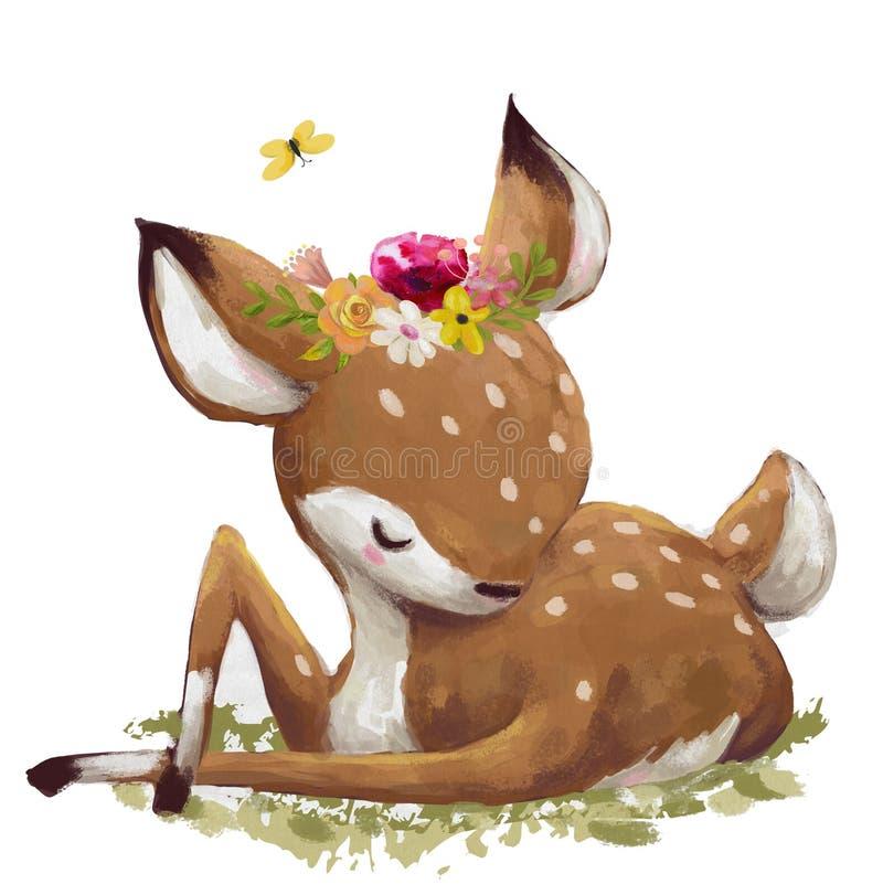Cerfs communs mignons d'aquarelle illustration stock