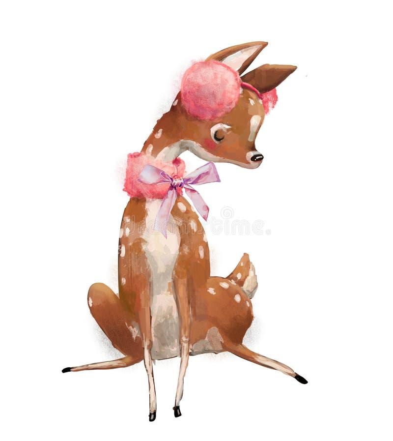 Cerfs communs mignons d'hiver d'aquarelle illustration stock