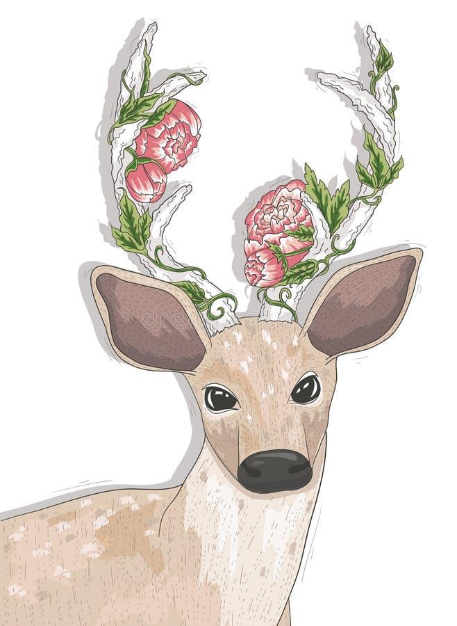 Cerfs communs mignons de hippie avec des fleurs illustration de vecteur