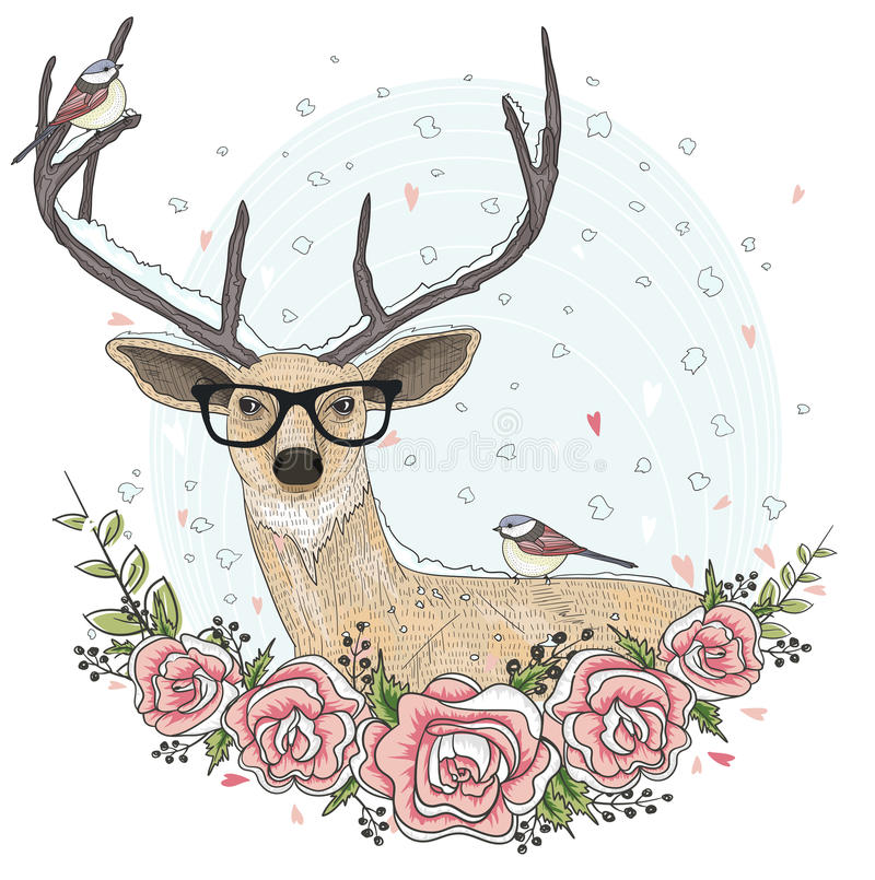 Cerfs communs mignons de hippie avec des verres et des fleurs illustration de vecteur