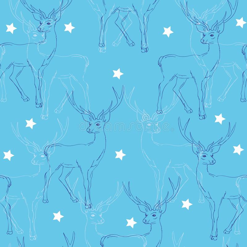 Cerfs communs, modèle, illustration, vecteur, nouvelle année, ornement, joyeux illustration stock