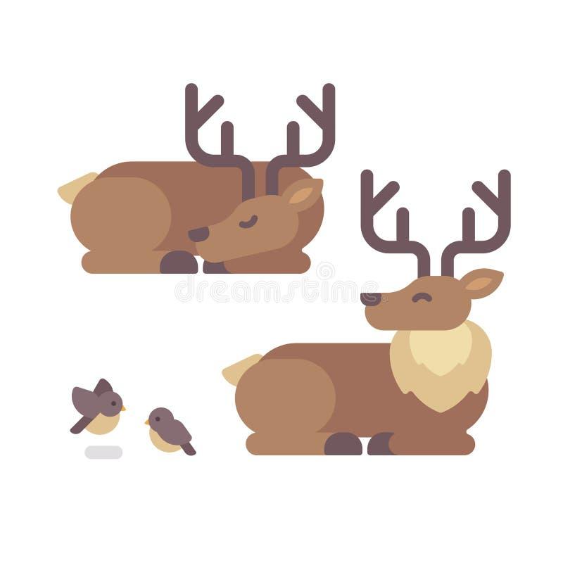 Cerfs communs se trouvant vers le bas illustration plate Sommeil de renne de Santa Claus illustration de vecteur