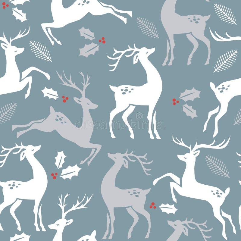 Cerfs communs sur le fond bleu avec des baies et des feuilles de trou illustration de vecteur