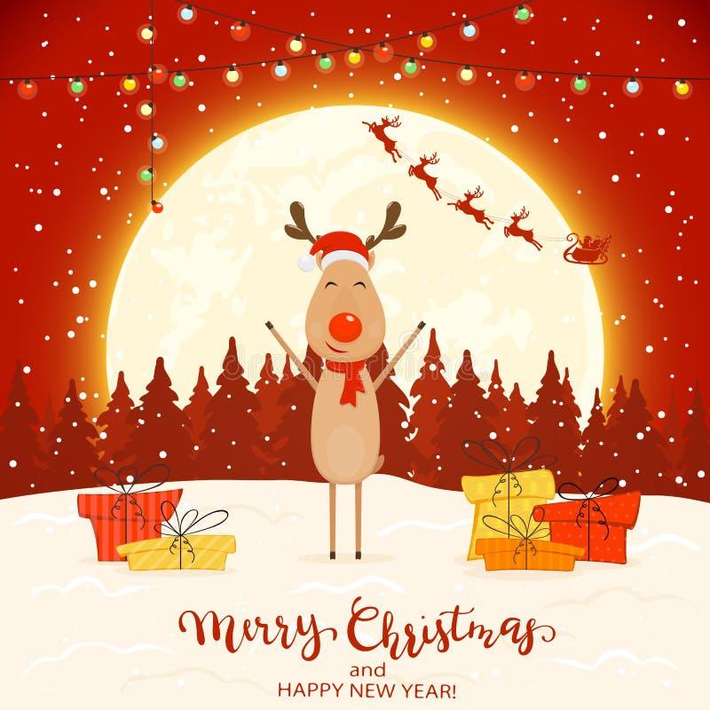 Cerfs communs sur le fond rouge d'hiver avec des cadeaux et des lumières de Noël illustration libre de droits