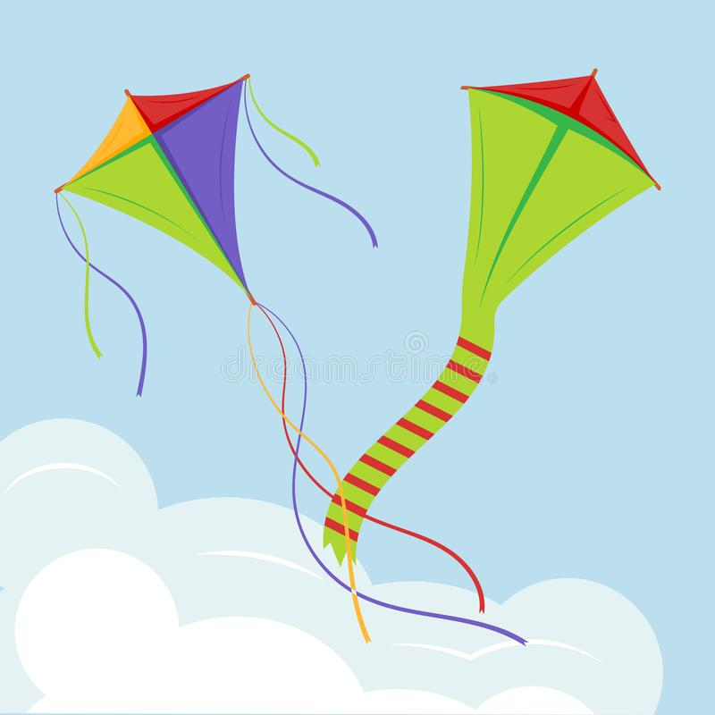Cerfs-volants colorés au-dessus du nuage, cerfs-volants volants en ciel illustration de vecteur